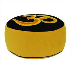 Meditationskissen RONDO mit Om gelb (velveton) | gelb | Dinkel