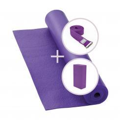 Yoga Set RISHIKESH Yogamatte mit Block & Gurt lila