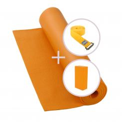 Yoga Set RISHIKESH yoga mat with brick and strap orange