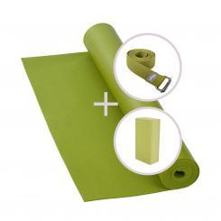 Yoga Set RISHIKESH Yogamatte mit Block & Gurt olive