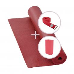 Kit de yoga RISHIKESH Tapis de yoga avec brique et sangle bordeaux