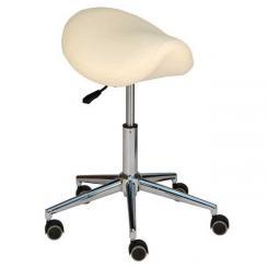 Tabouret à roulettes avec siège-selle et piètement chromé beige
