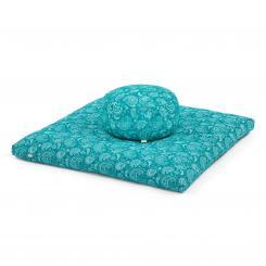 Kit de méditation: Coussin de méditation + futon | Maharaja Collection Paisley, pétrole | Rondo