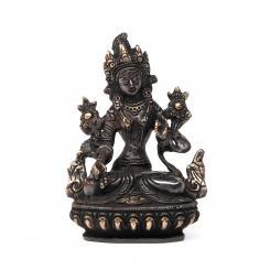Tara Statue, Messing schwarz, ca. 14 cm