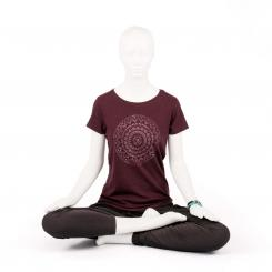 Bodhi Yoga Shirt Damen - ETHNO MANDALA, grape red