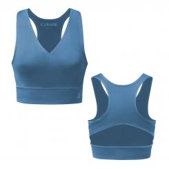 Curare Yoga Active Bra, Neckline Back, horizon-blue