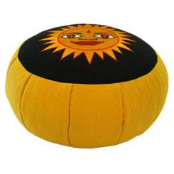 Meditationskissen ZAFU mit Sonne gelb (velveton) | gelb | Dinkel