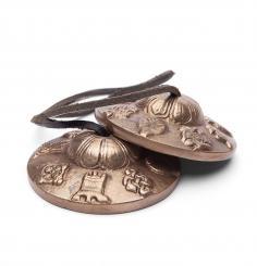 Tibetan meditation cymbals w. ornaments, 7,5 cm