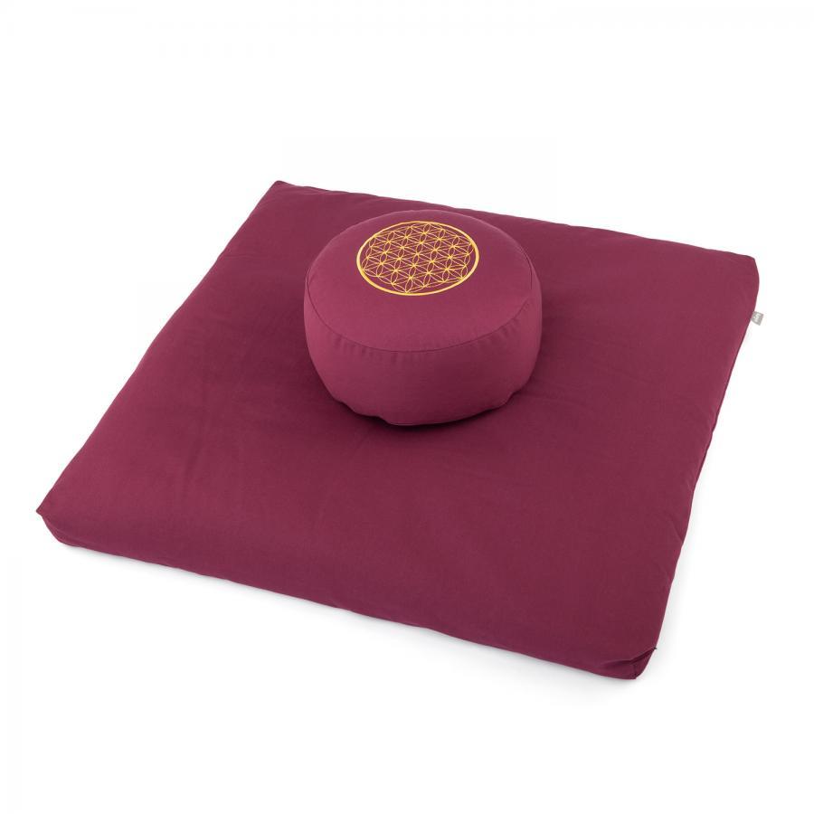 Meditations-Set ECO | Meditationskissen RONDO + Zabuton | mit Stickerei Blume des Lebens