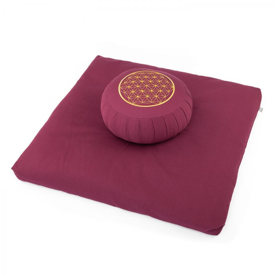 Meditations-Set ECO   Meditationskissen ZAFU + Zabuton   mit Stickerei Blume des Lebens