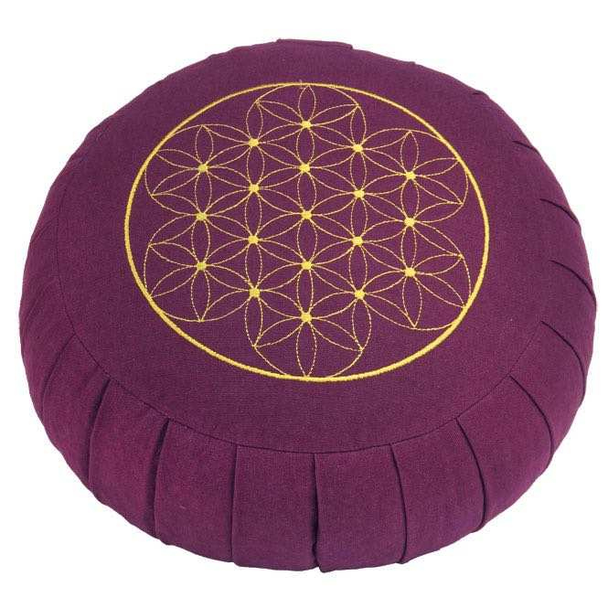 Meditation cushion ZAFU BASIC - Flower of Life aubergine | spelt hull