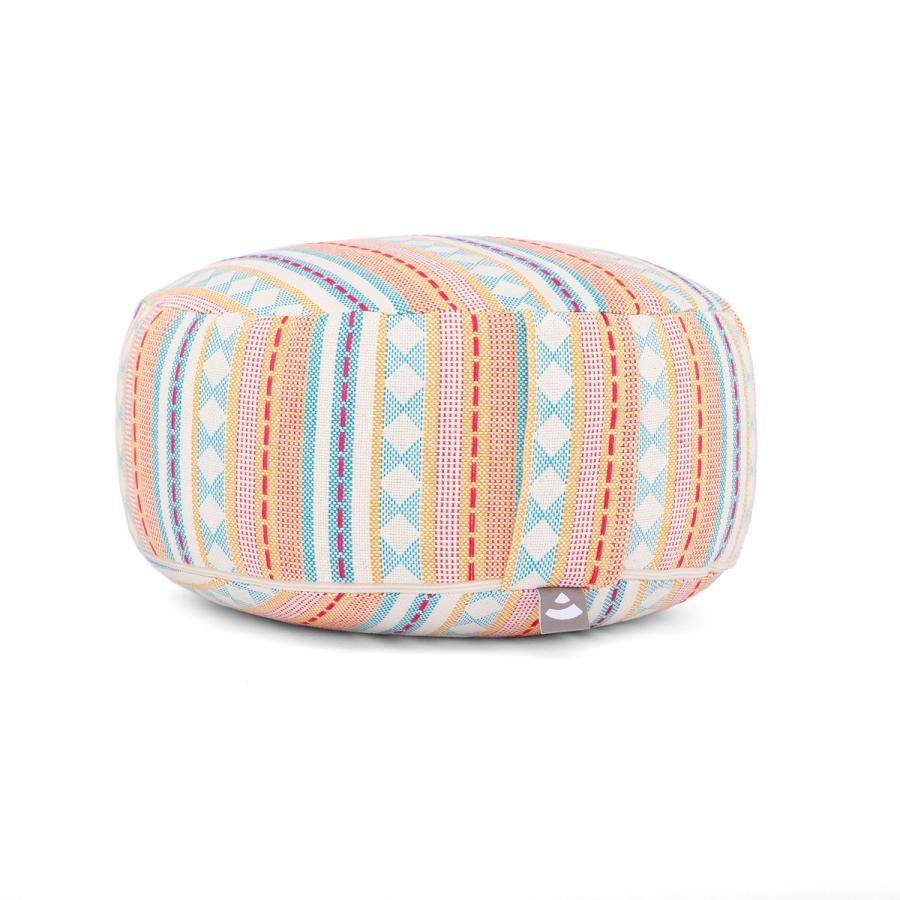 Meditation cushion RONDO | ETHNO Collection | patterned jacquard weave apricot & light blue