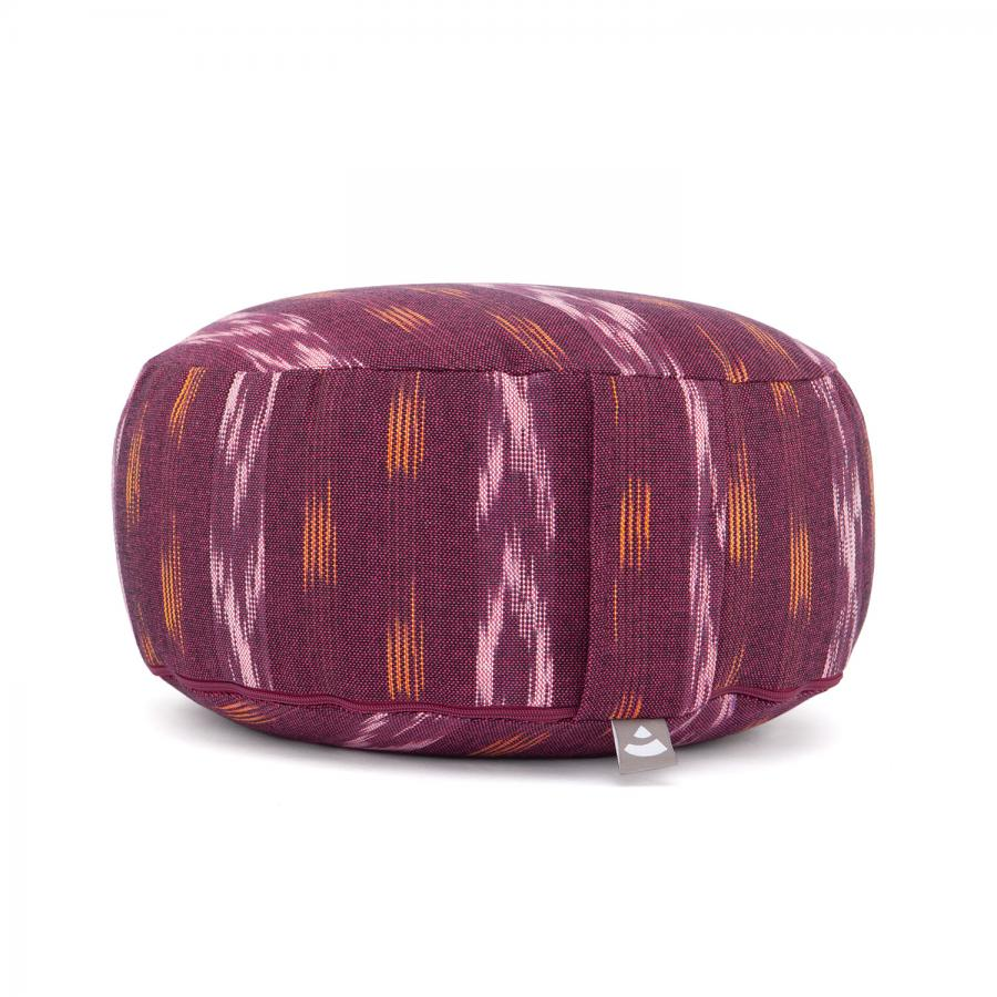 Meditationskissen RONDO | ETHNO Collection | Ikat-Webstoff, weinrot gemustert