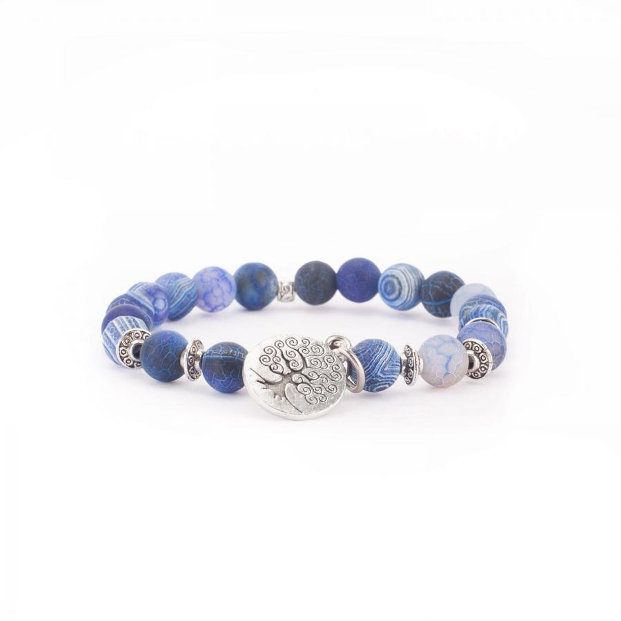 Mala bracelet, blue agate (fashion jewelry) M
