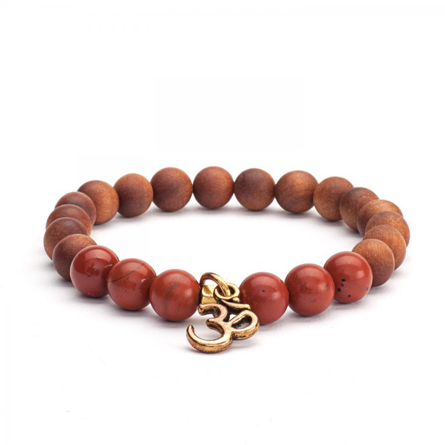 Mala Armband mit rotem Jaspis und Holzperlen mit Sandelholz-Duft, Modeschmuck