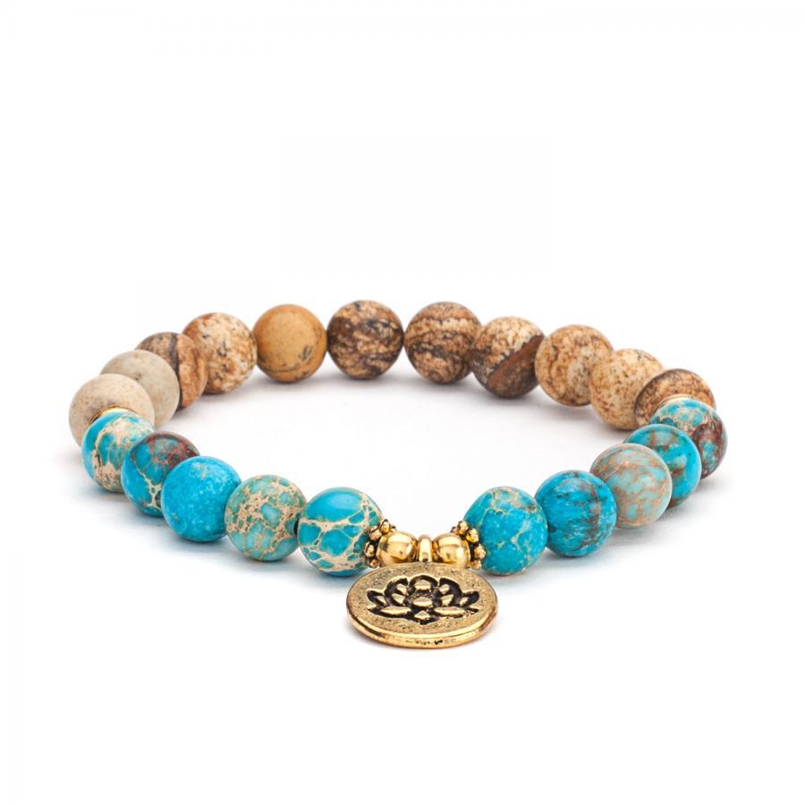 Mala bracelet, picture jasper & turquoise (fashion jewelry)