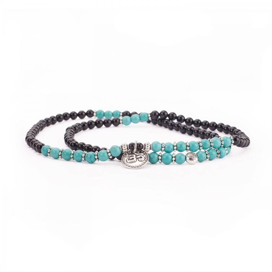 Mala Wickel-Armband mit Türkis und schwarzem Achat, Modeschmuck
