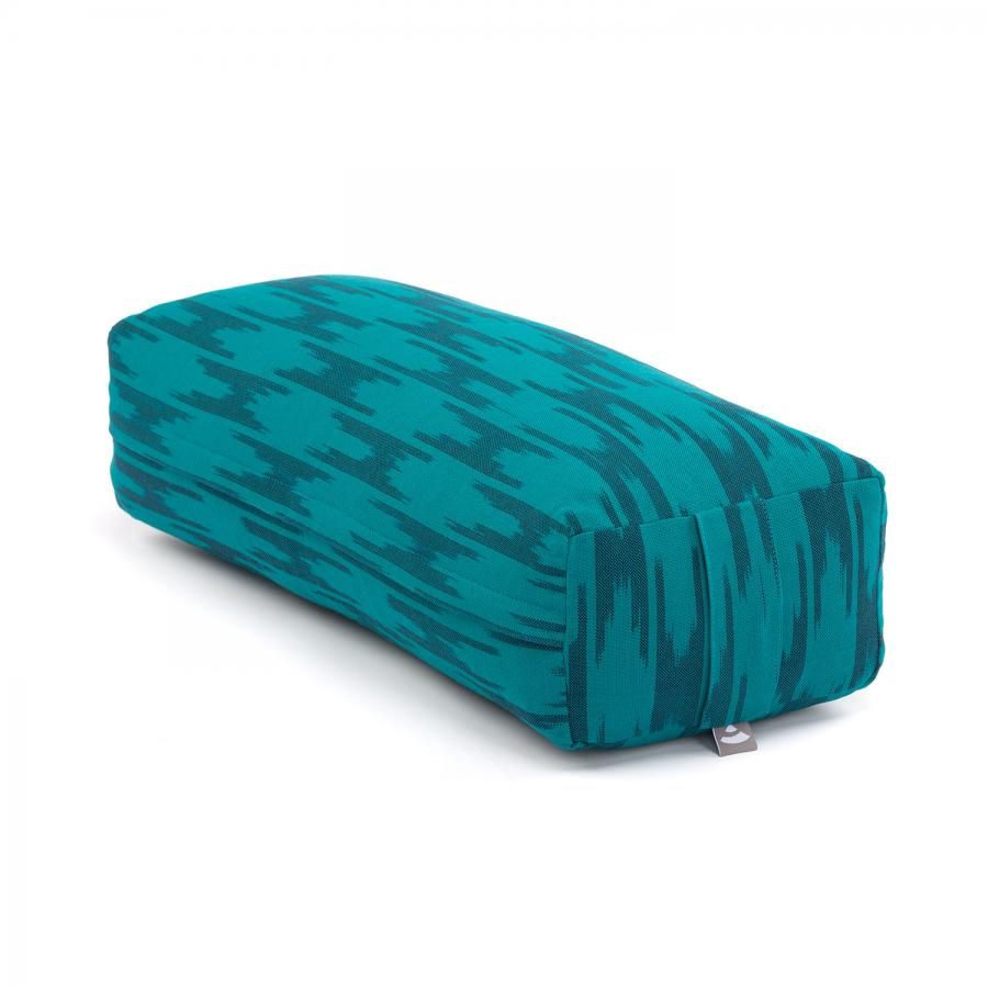 Yoga BOLSTER Salamba | ETHNO Collection | Ikat-Webstoff, blau-grün gemustert