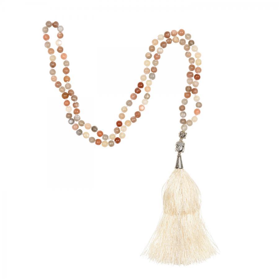 Mala Mondstein mit weißer Quaste, 108 Perlen