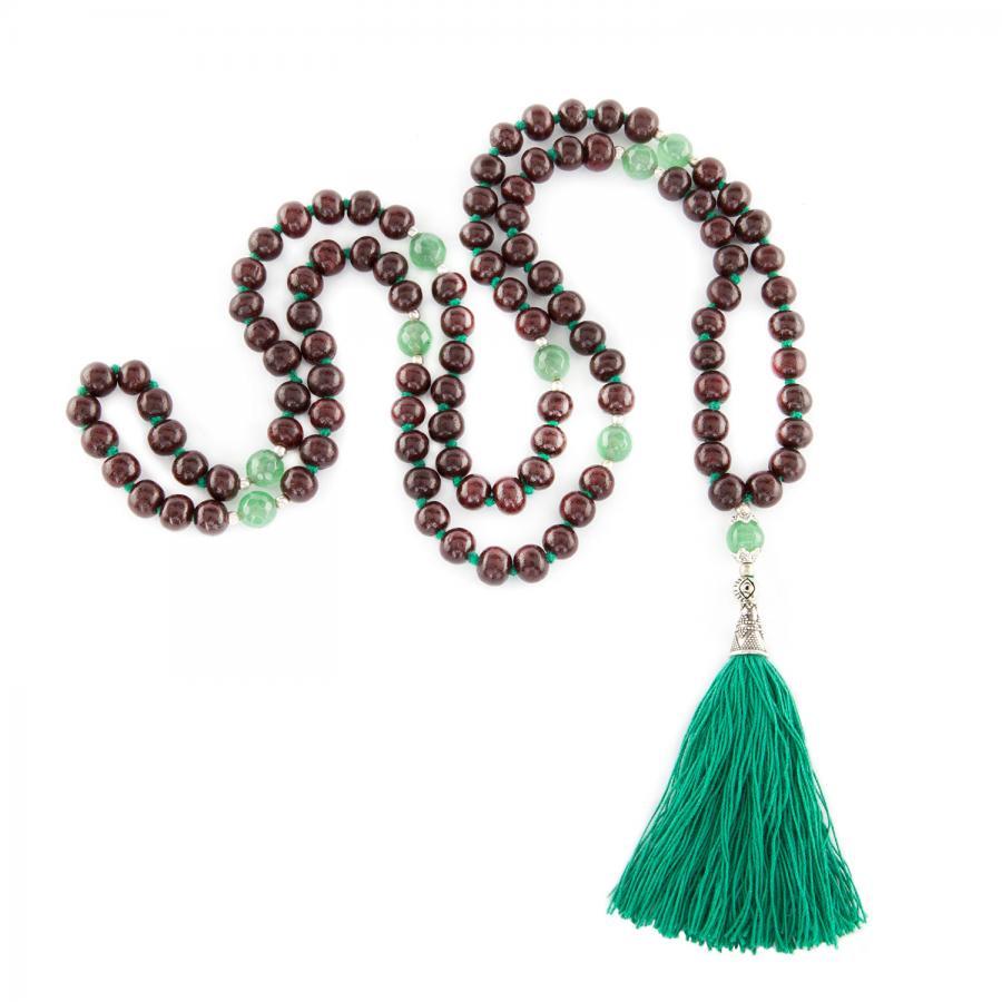 Mala mit Rosenholz und grünem Onyx, 108 Perlen