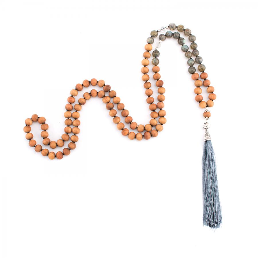 Mala labradorite, rock crystal and  wooden beads with sandalwood scent, 108 beads