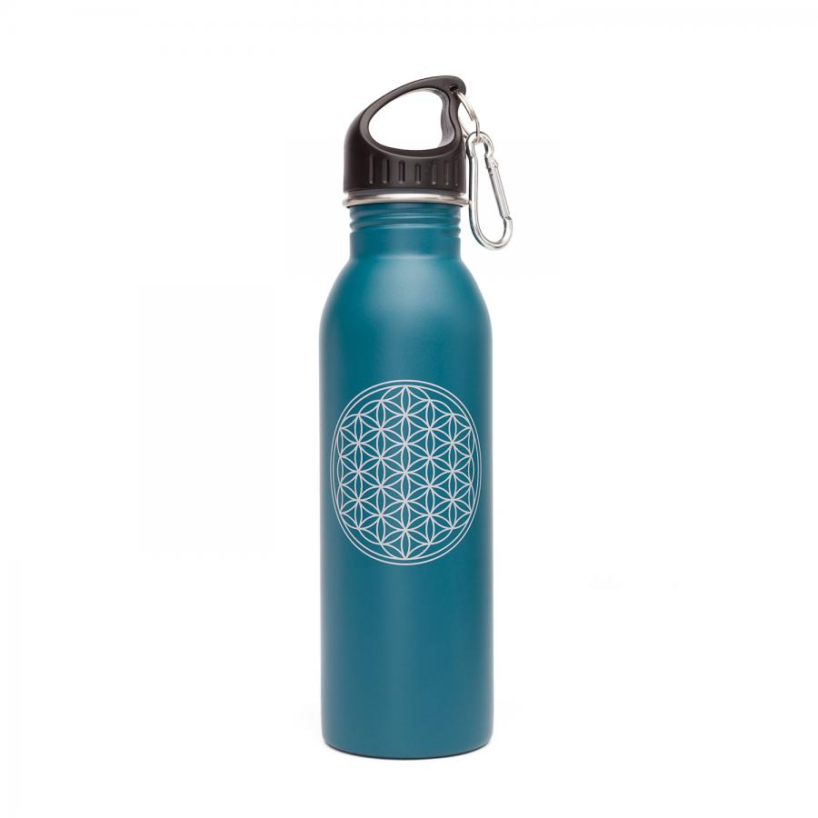 Edelstahl-Trinkflasche, 700 ml, unifarben mit Print Blume des Lebens