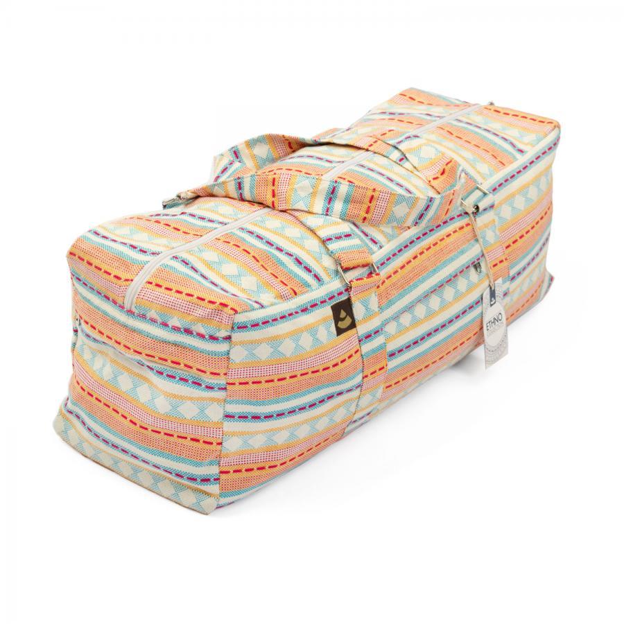 Yoga Kit Bag   ETHNO Collection   apricot-hellblau gemustert