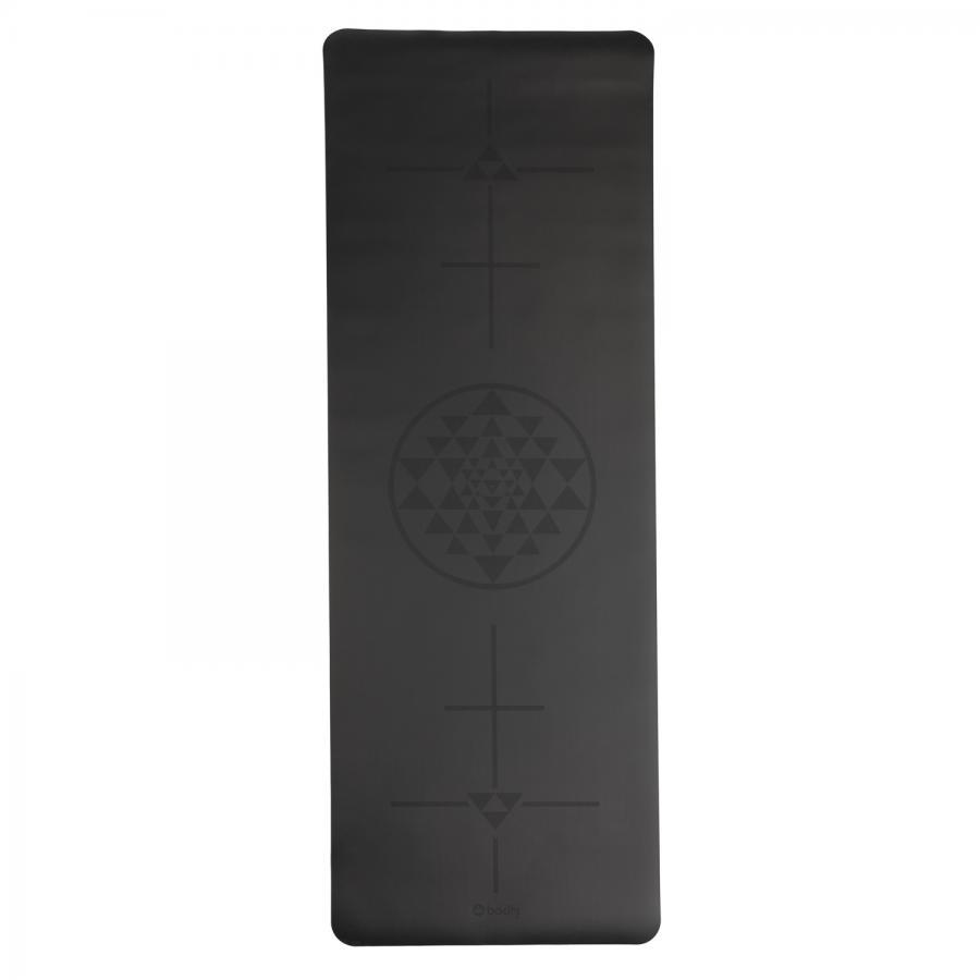 Tapis de yoga design PHOENIX,  noir, motif Alignment-Yantra