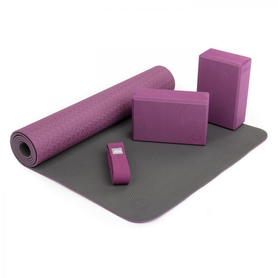 Yoga Set FLOW Yogamatte mit Block & Gurt