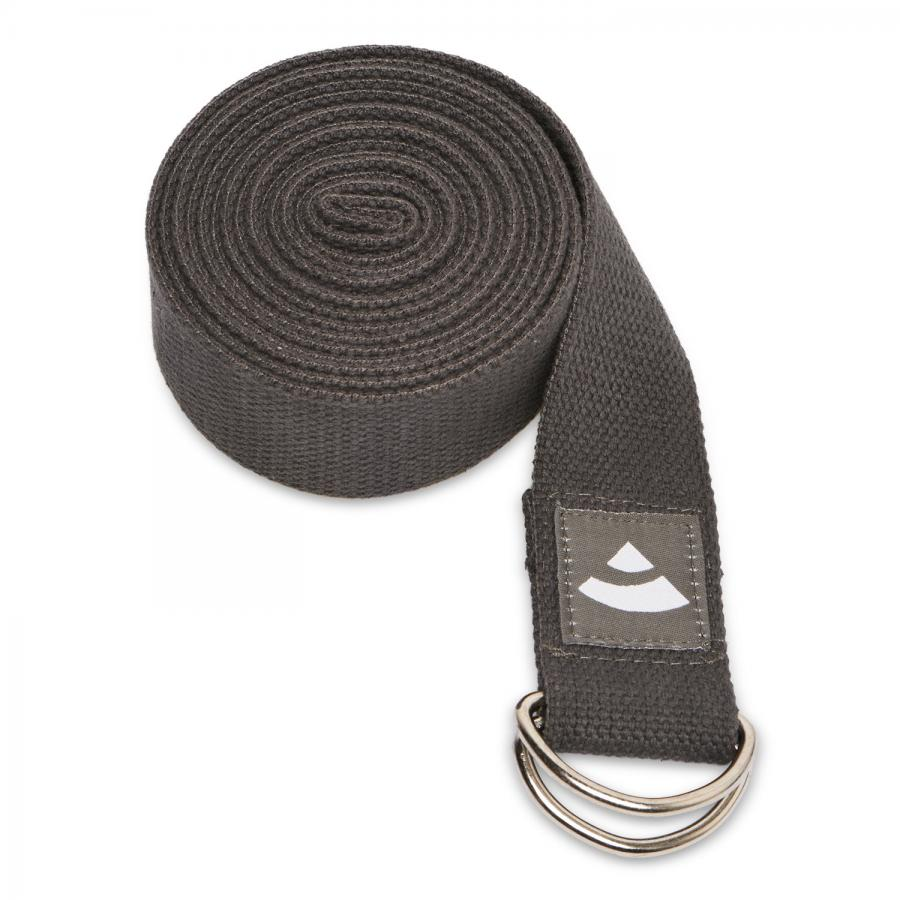 Yogagurt ASANA BELT, mit Metallverschluss (D-Ring) anthrazit