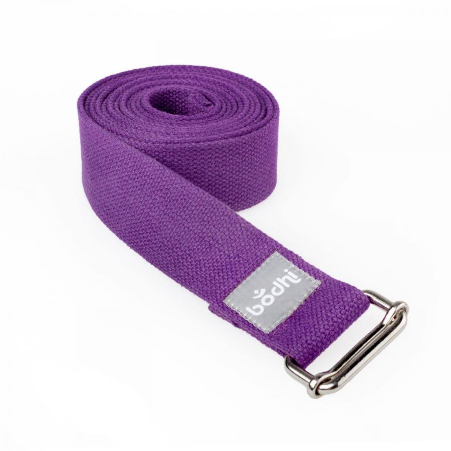 Yoga strap ASANA BELT with metal sliding buckle purple