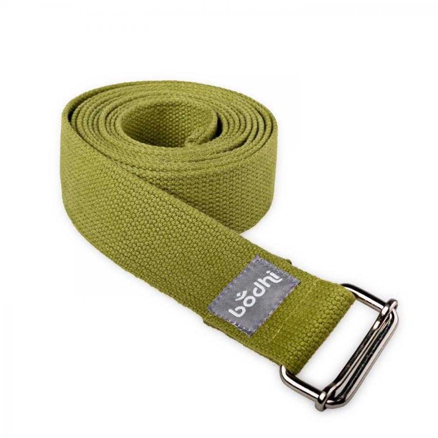 Yoga strap ASANA BELT with metal sliding buckle olive green