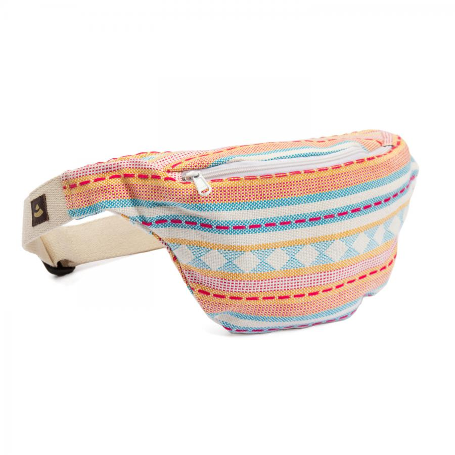 Waist Bag | ETHNO Collection | Jacquard woven fabric, apricot-light blue pattern
