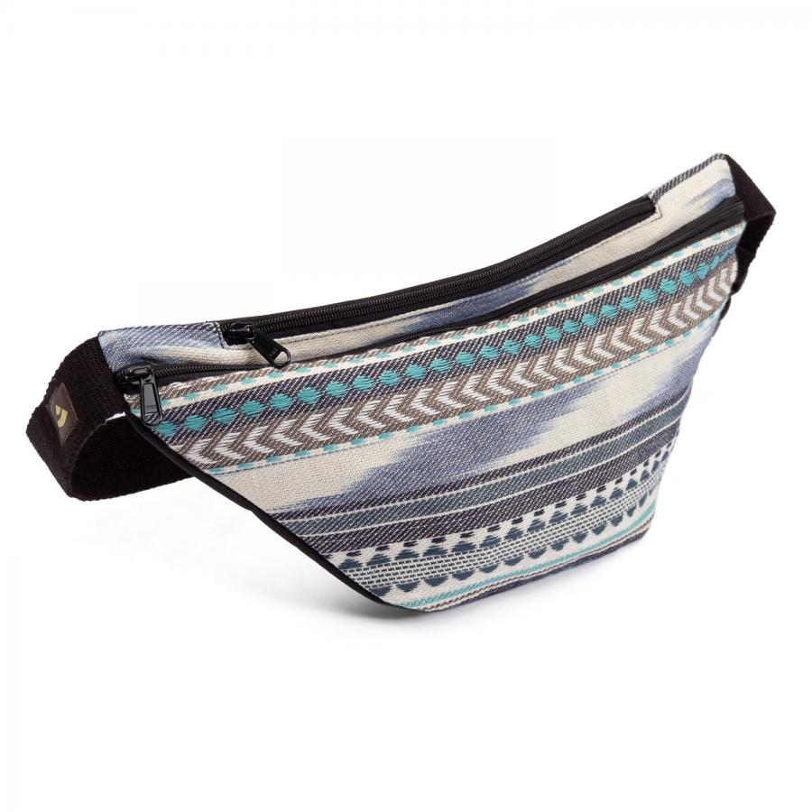 Waist Bag | ETHNO Collection | Ikat woven fabric, black-white-blue pattern
