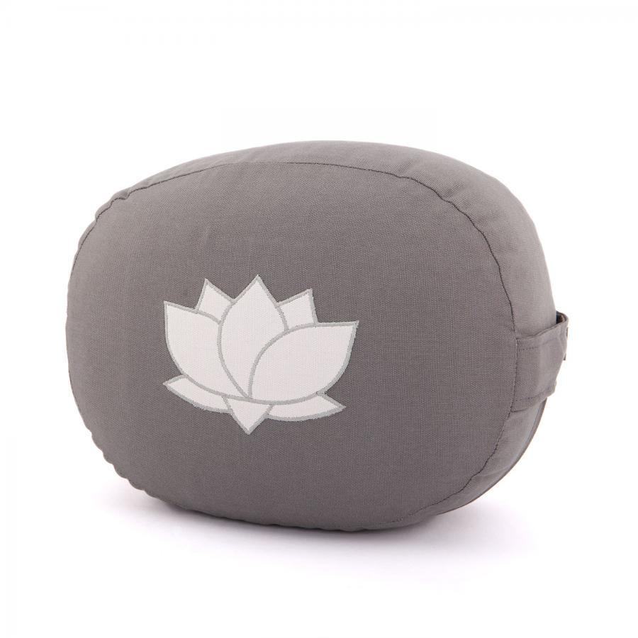 Meditation cushion OVAL with Lotus embroidery | organic cotton grey with Lotus