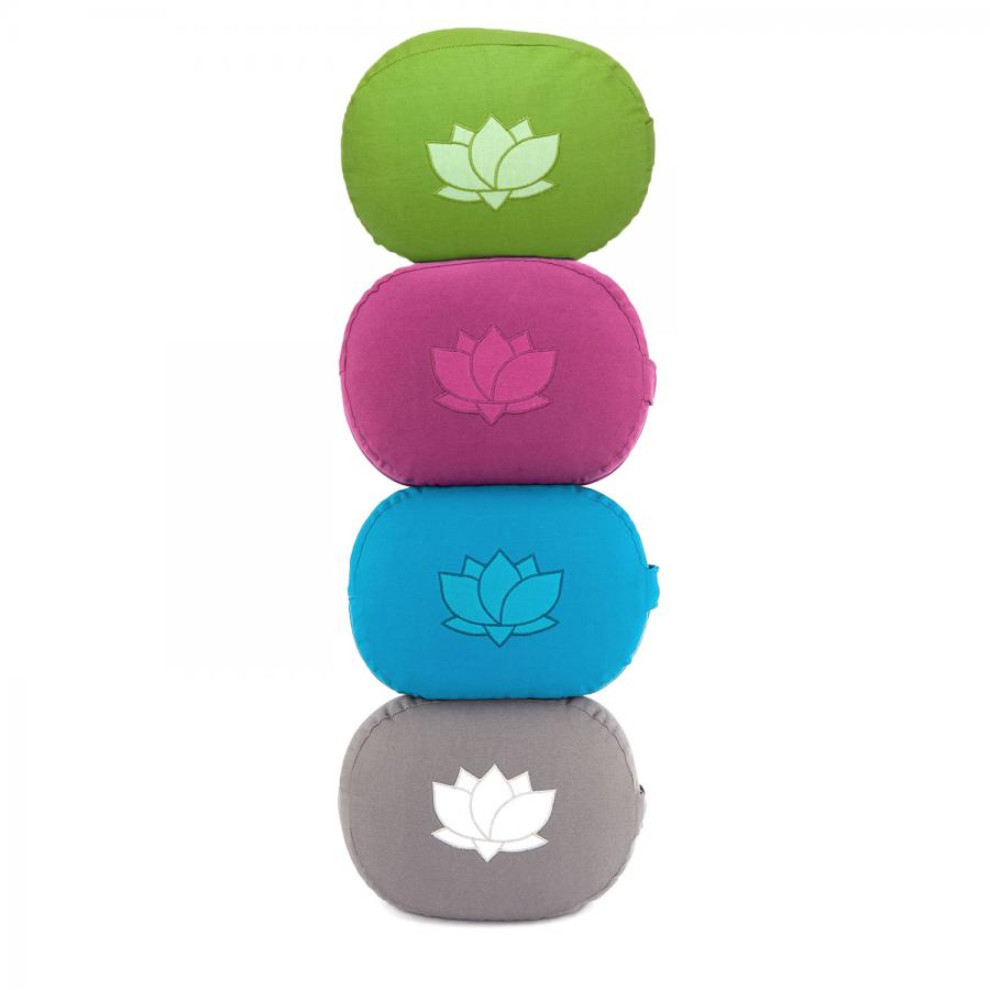 Meditationskissen OVAL mit Lotus Stickerei | aus Bio-Baumwolle