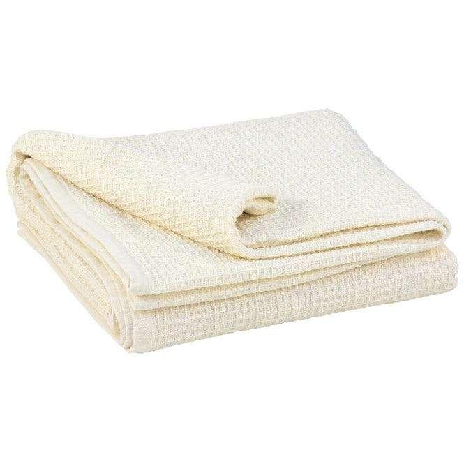Couverture en gaufre de coton écru