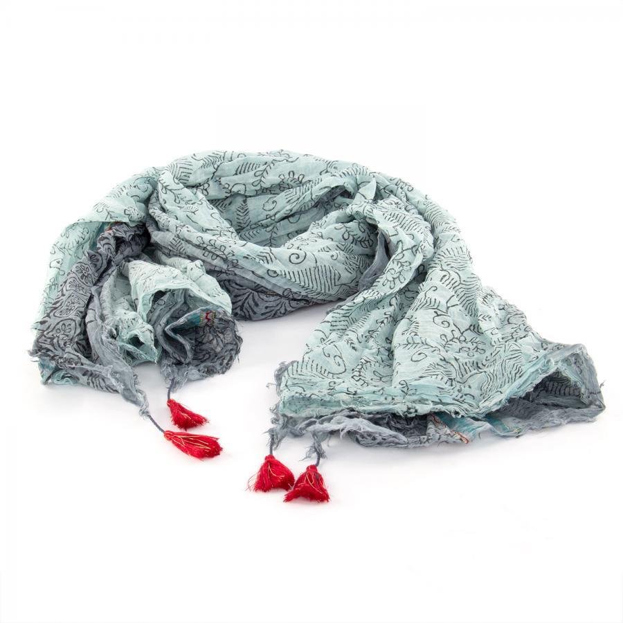 Leichter Baumwollschal mit verspieltem Muster, grau/mint