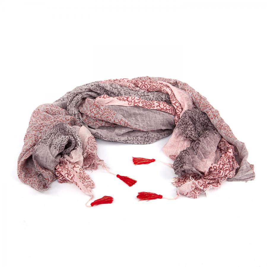 Châle en coton léger imprimé, vieux rose