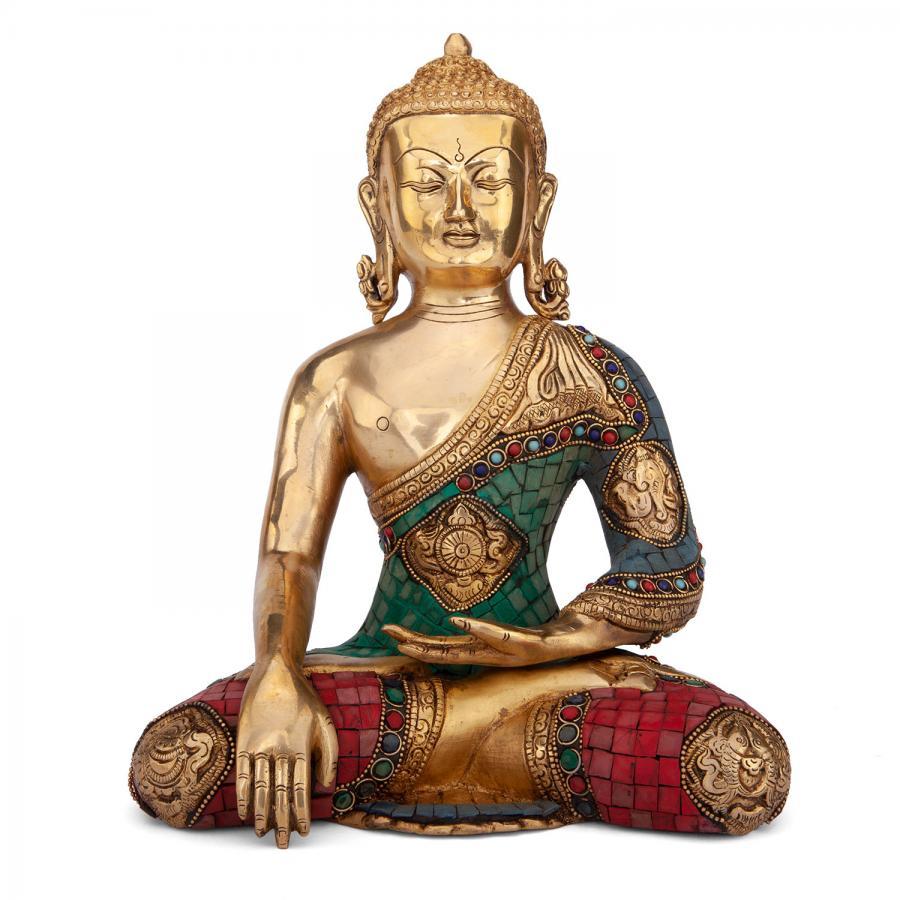 Buddha Statue mehrfarbig, ca. 30 cm