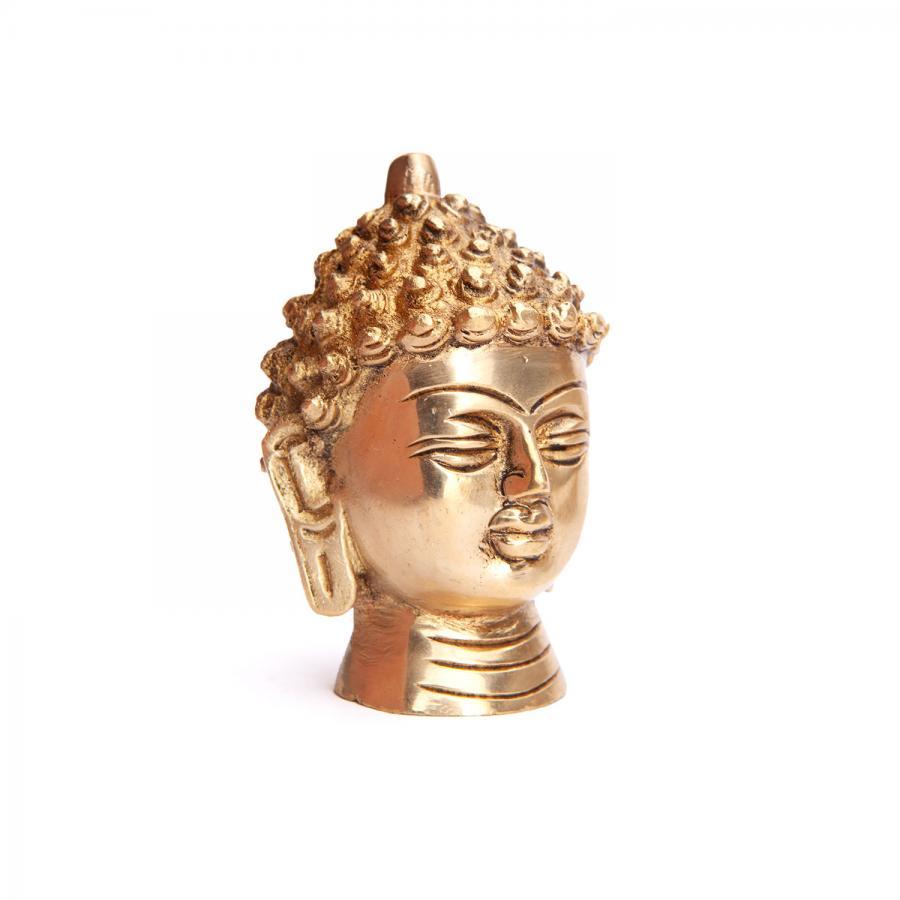 Buddha-Kopf Statue, Messing ca. 7,5 cm