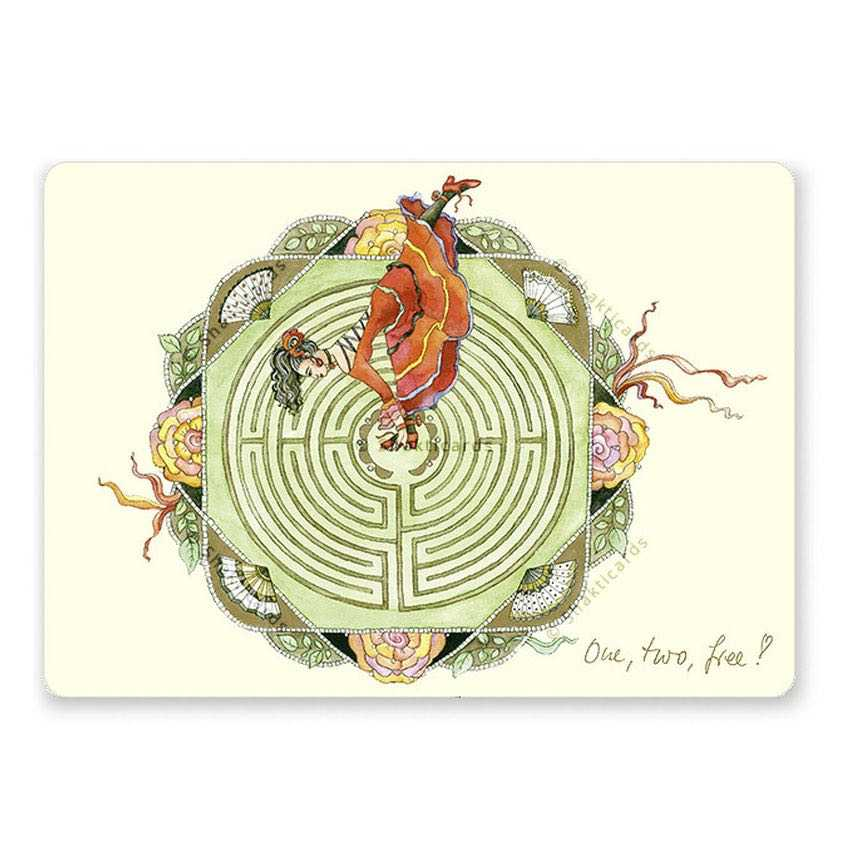 "Yoga Postcard ""One, two, free!"""