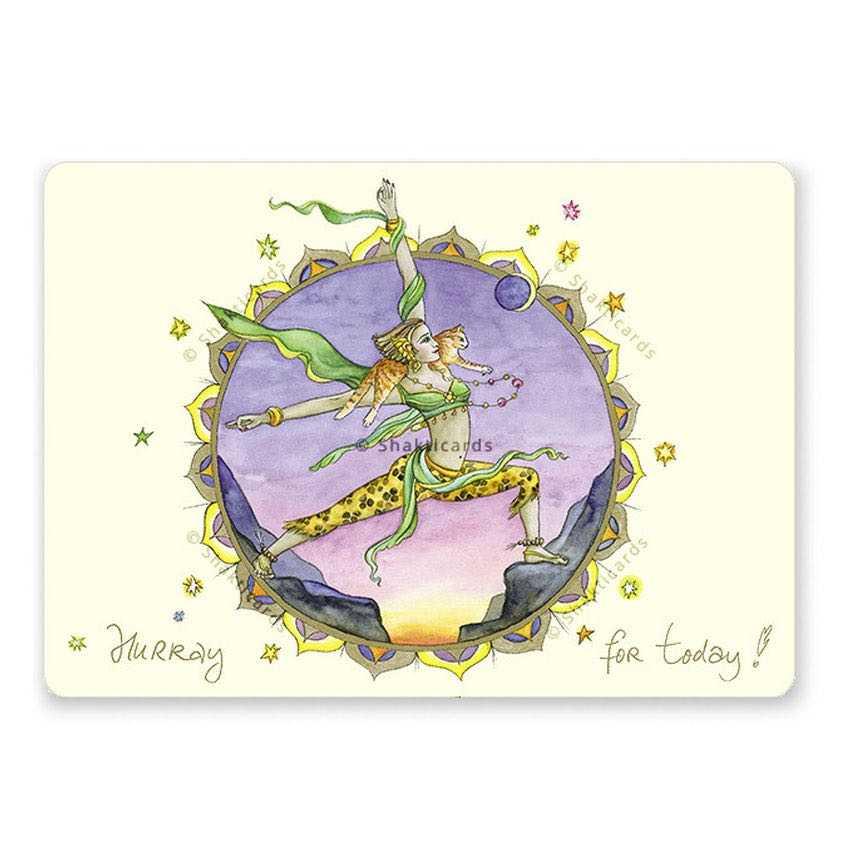 """Yoga Postcard """"Hurray for today!"""""""