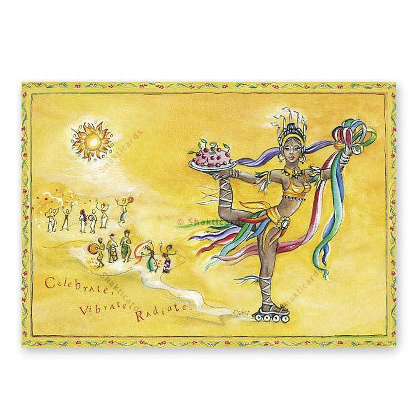 "Yoga Postcard ""Celebrate, Vibrate, Radiate"""