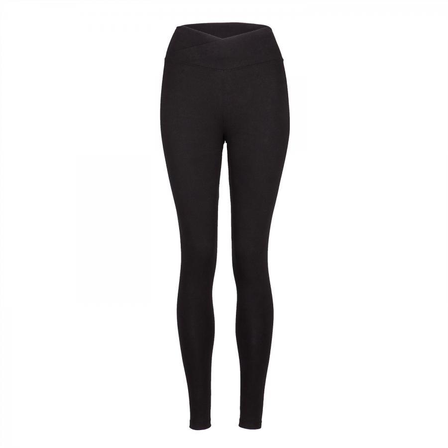 Yamadhi Basic Yoga Leggings Crossed Waist, Bio-Baumwolle, Schwarz XL