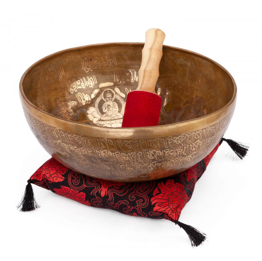 Tibetan Singing Bowl with 5 BUDDHAS inlay by bodhi approx. 3800 g, Ø 32 cm