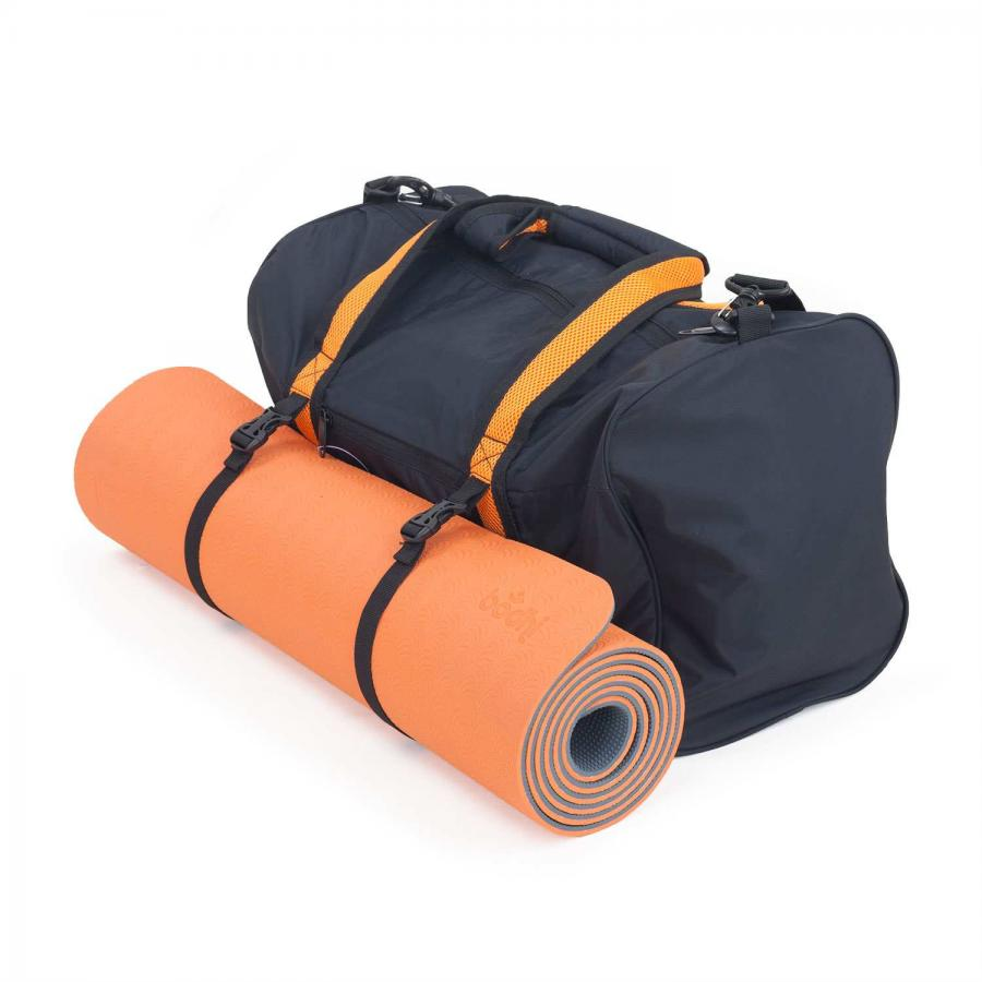 Aktion: Yoga Set LOTUS PRO mit Yogamatte & Sports Bag Matte: orange / Bag: grau/orange