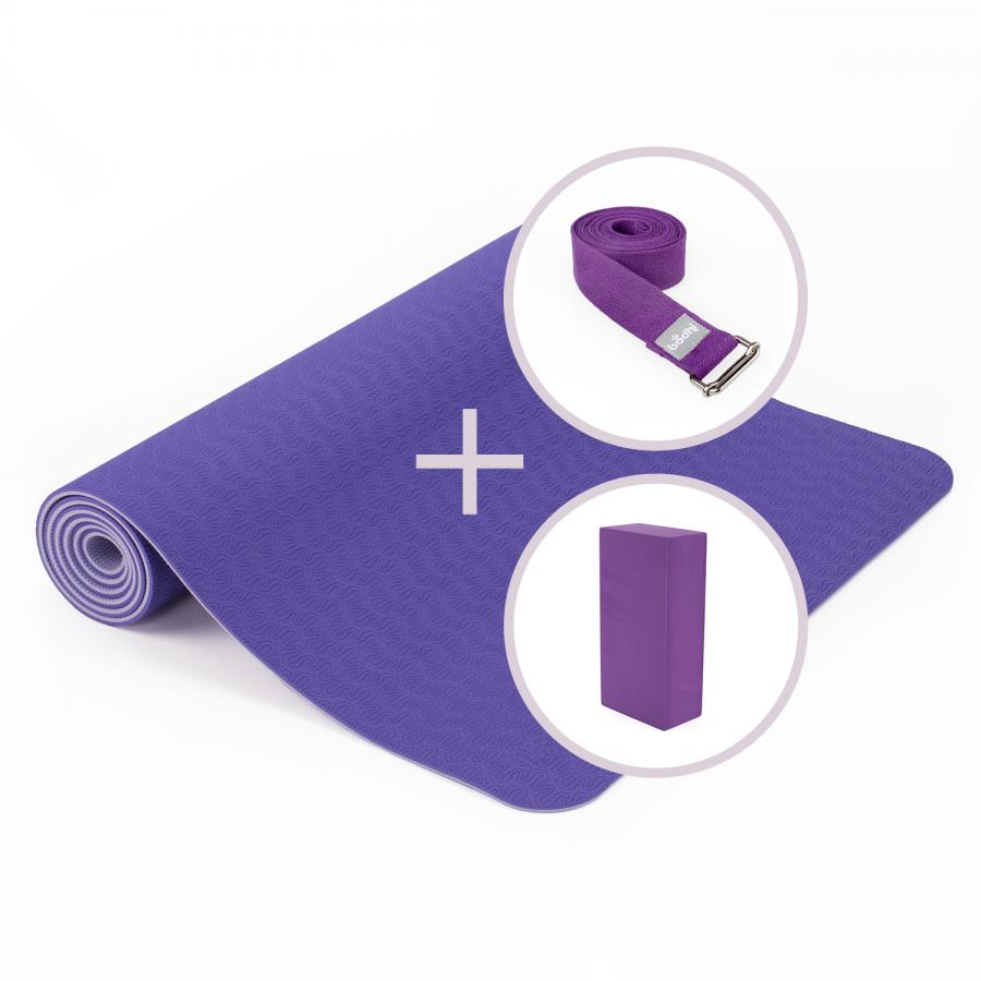 Yoga Set LOTUS PRO yoga mat with brick and strap