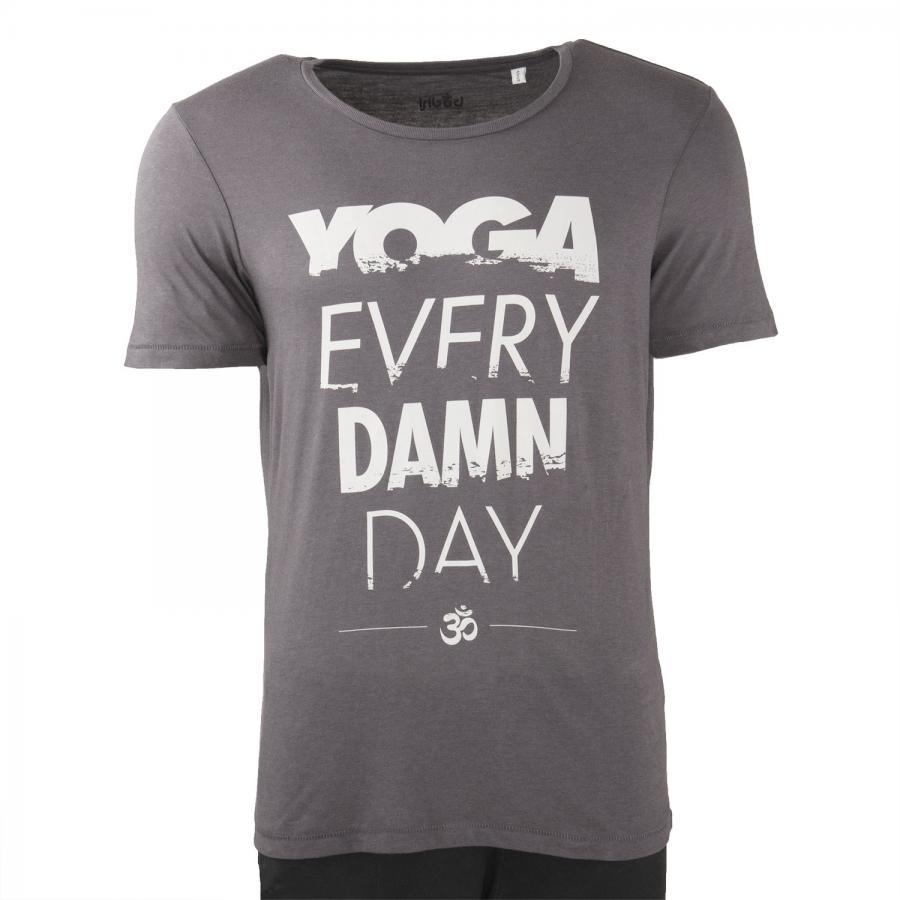 Bodhi Yoga Shirt Männer - YOGA EVERY DAMN DAY, anthracite