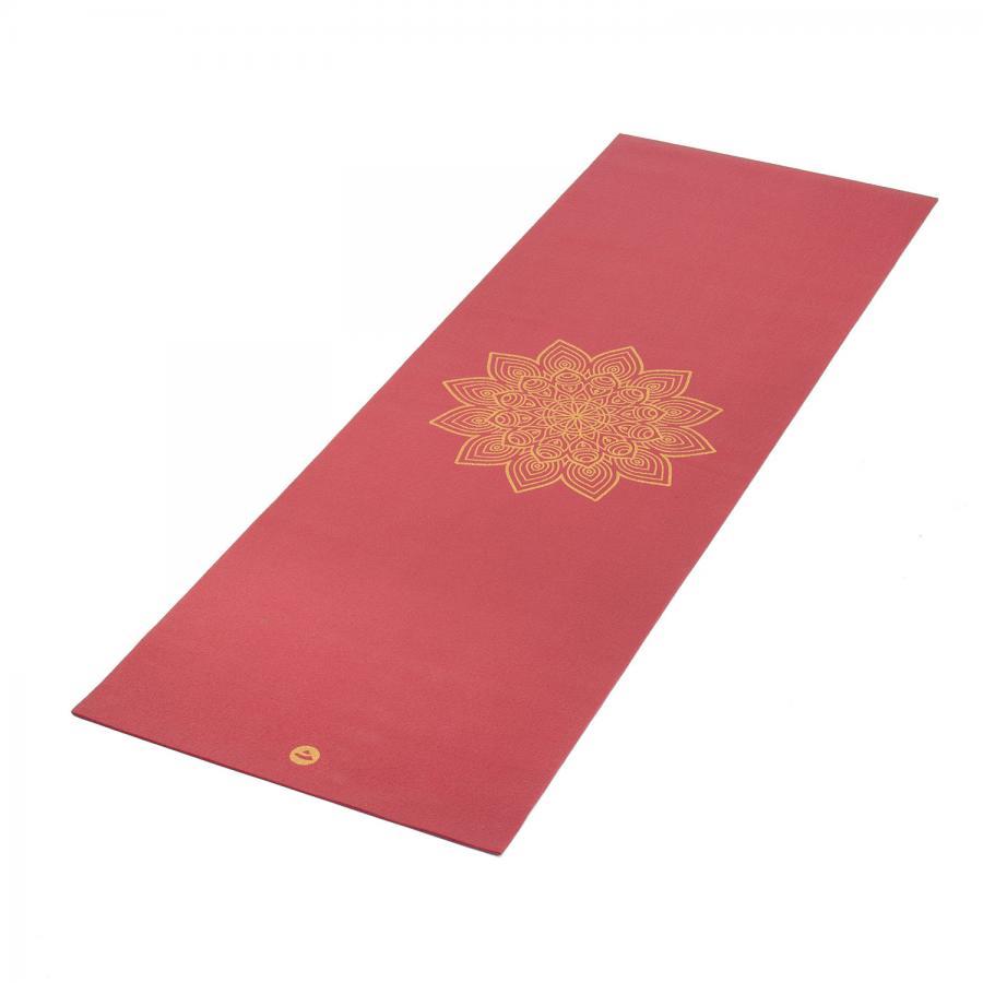 Yogamatte RISHIKESH Premium 60 mit goldenem Mandala weinrot